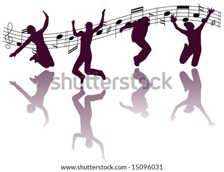 Illustration of people jumping - stock vector