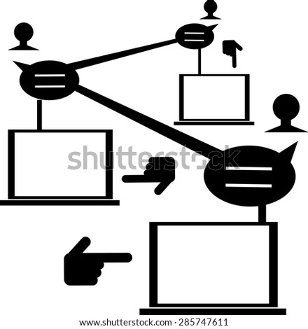 Illustration of people network with blank laptop monitor for your text. - stock vector
