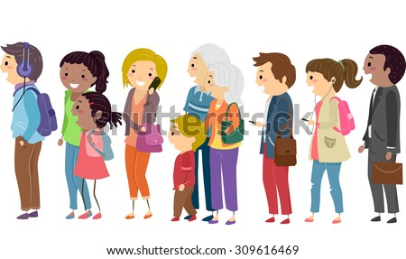 Illustration of People Patiently Waiting on a Queue - stock vector
