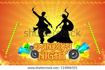 illustration of people playing garba in dandiya night - stock vector
