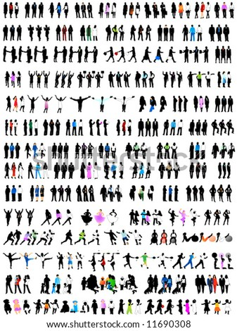 Illustration of people silhouettes - stock vector