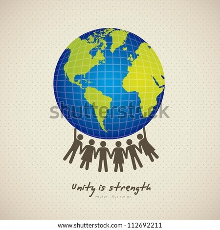 illustration of people united by holding the planet earth, vector illustration - stock vector