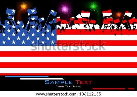 illustration of people waving flag on American flag background - stock vector