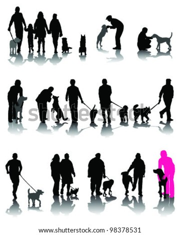 Illustration of people with dog and shadow 3-vector - stock vector