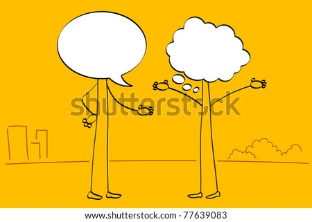 illustration of people with speech bubble head talking with each other - stock vector
