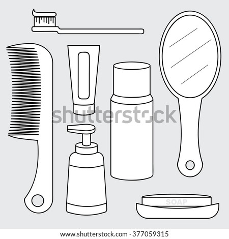 illustration of personal hygiene product  concept, toiletries collection, toothbrush, comb, toothpaste, mirror, soap - stock vector