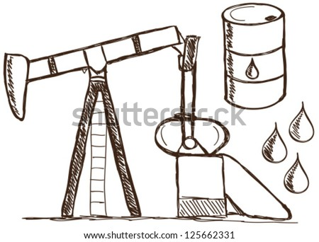 Illustration of petrol doodle drawings on white background - stock vector