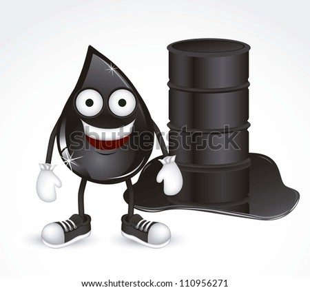 Illustration of petroleum drop with shoes and gloves, vector illustration