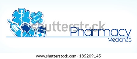 illustration of pharmacy sign design isolated on white background - stock vector
