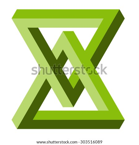 illustration of phenomenal optical illusion colored green - stock vector