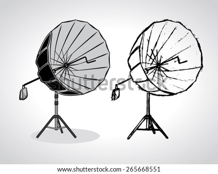 illustration of photo studio umbrella on stand with a black outline isolated on white - stock vector