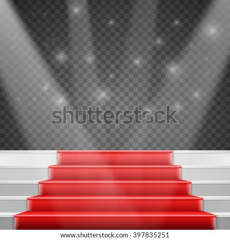 Illustration of Photorealistic Vector Stairs Podium with Red Carpet and Bright Luxury Event Background Isolated on Transparent PS Style Background - stock vector