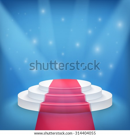 Illustration of Photorealistic Winner Podium Stage with Blue Stage Lights Background. Used for Product Placement, Presentations, Contest Stage. - stock vector