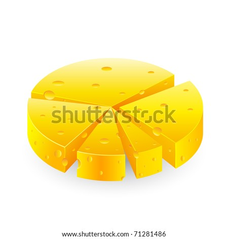 illustration of pie chart made of cheese on white background - stock vector