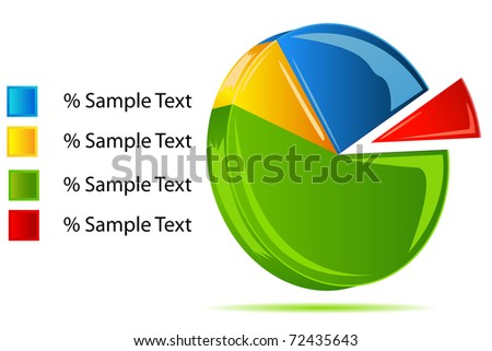 illustration of pie chart on white background - stock vector