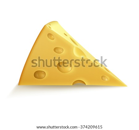 Illustration of piece of cheese, EPS 10 contains transparency.  - stock vector
