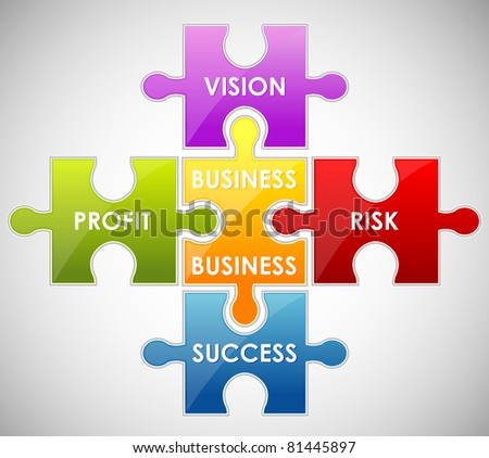 illustration of piece of jigsaw puzzle showing business content - stock vector