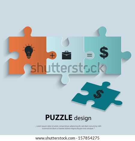 Illustration of piece of jigsaw puzzle showing business equation - stock vector