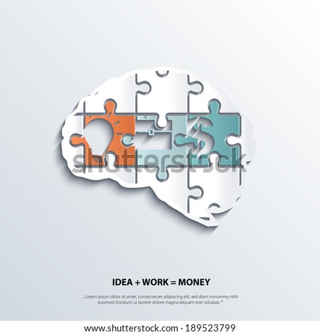 Illustration of piece of jigsaw puzzle showing business equation in human brain. - stock vector