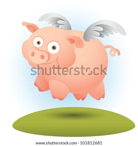 Illustration of Pig Flying with a pair of wing - stock vector