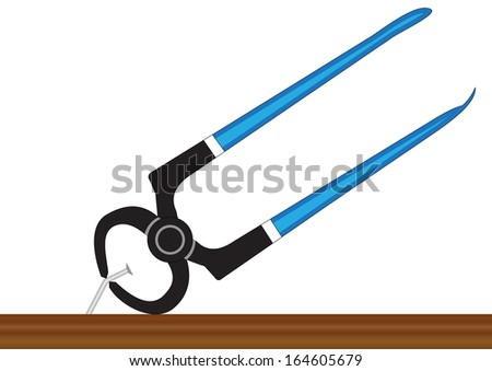 Illustration of pilers, pulling a nail out of the board on a white background
