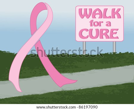 Illustration of Pink Breast Cancer Awareness Ribbon Walking for a Cure - stock vector