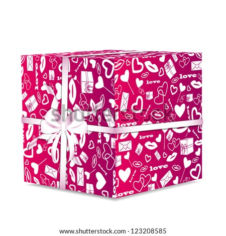 illustration of pink giftwrap with a white ribbon and bow - stock vector