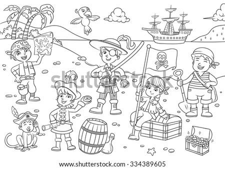 Illustration of pirate child cartoon.EPS10 File simple Gradients - stock vector