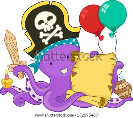 Illustration of Pirate Octopus Celebrating its Birthday - stock vector