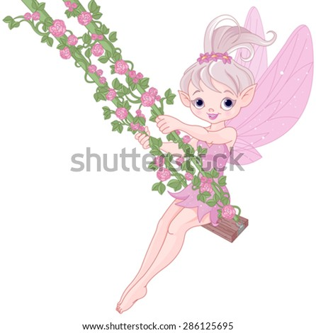Illustration of Pixy fairy on a swing - stock vector