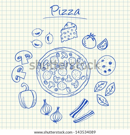 Illustration of pizza ink doodles on squared paper - stock vector
