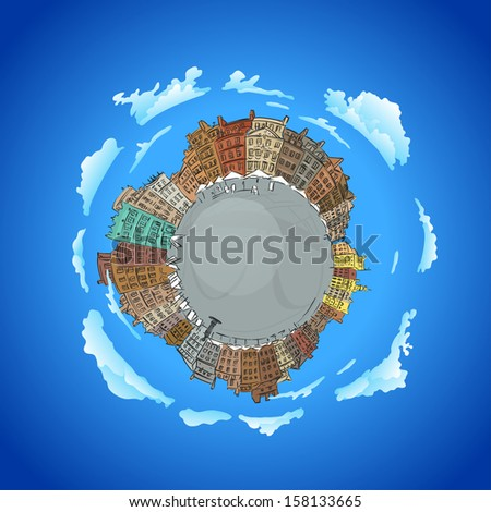 illustration of Planet earth  traveling around the world concept and city skyscrapers - stock vector