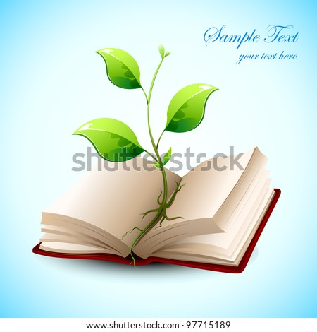 illustration of plant growing in open book on abstract background - stock vector