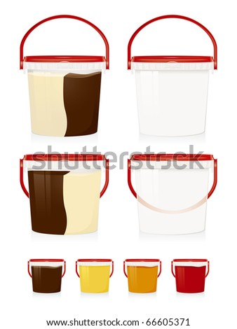Illustration of plastic buckets.