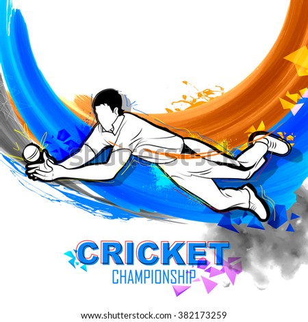 illustration of player fielding in cricket championship - stock vector