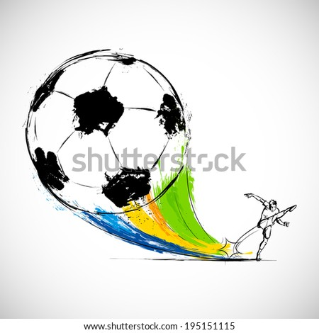 illustration of player kicking soccer ball in Football background - stock vector