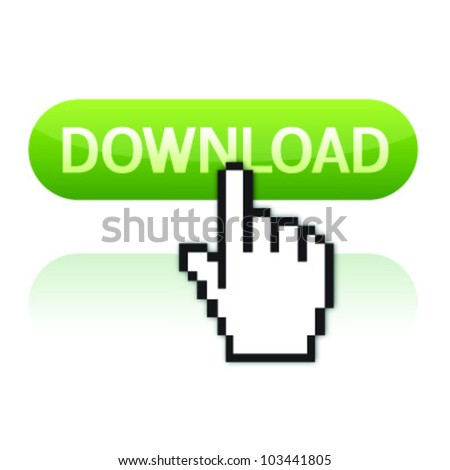 Illustration of pointer cursor on glossy download button - stock vector