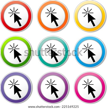 Illustration of pointer icons various colors set - stock vector