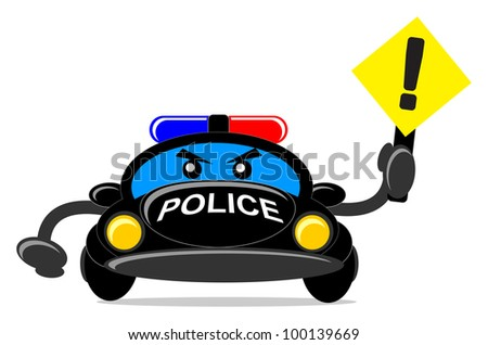 illustration of police car with traffic sign - stock vector