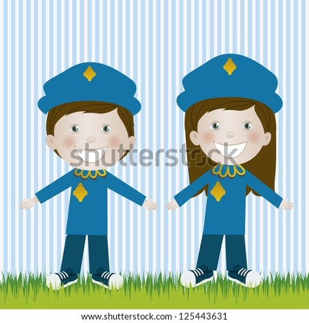 Illustration of police man and woman, in cartoon style and sketch, vector illustration - stock vector