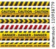 illustration of police security tapes, yellow with black and red, vector illustration - stock photo