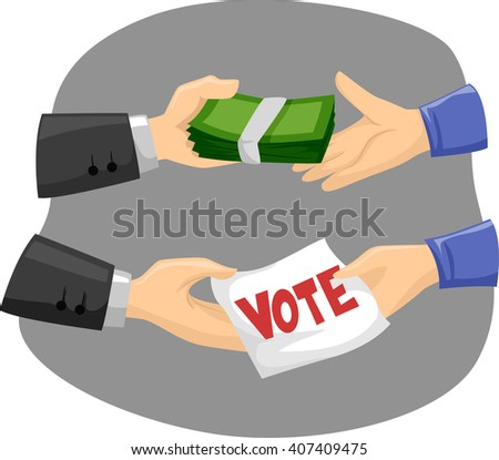 Illustration of Political Candidates Buying Votes - stock vector