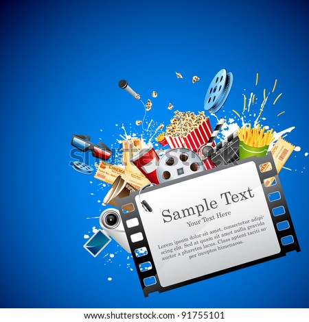 illustration of pop corn,reel and clapper board popping out from film reel - stock vector