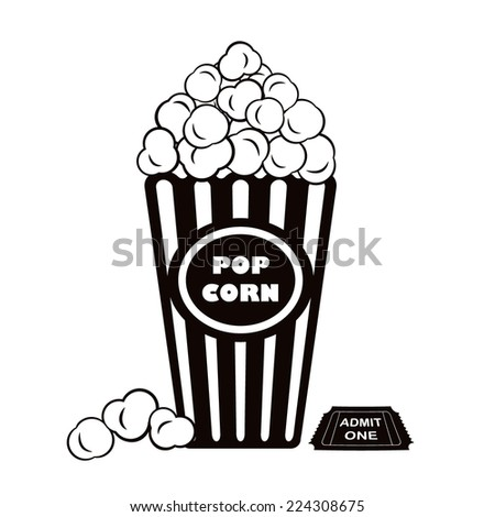Illustration of popcorn with admit one cinema ticket