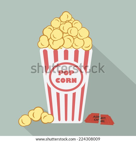 Illustration of popcorn with torn admit one cinema ticket - stock vector