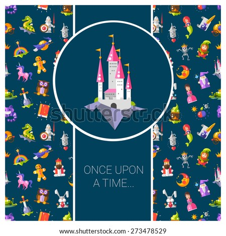 Illustration of postcard with fairy tales flat design magic vector  icons and elements - stock vector