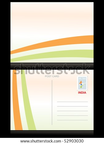 illustration of postcard with indian national flag pattern - stock vector
