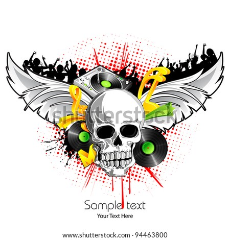 illustration of poster for musical night with skull and wings