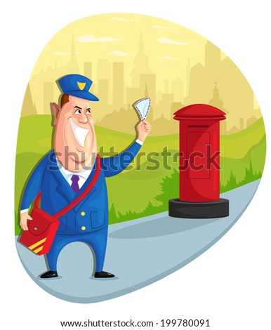 illustration of postman delivering letter in vector - stock vector
