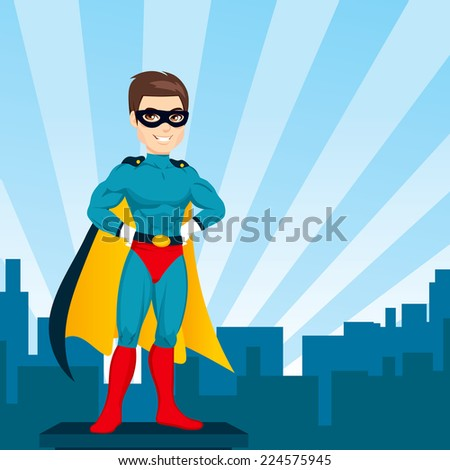 Illustration of powerful strong man hands on hips pose with superhero costume watching city skyline - stock vector